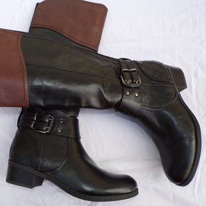 NWOT! UNISA BLACK/BROWN WIDE CALF BOOTS Size 6.5